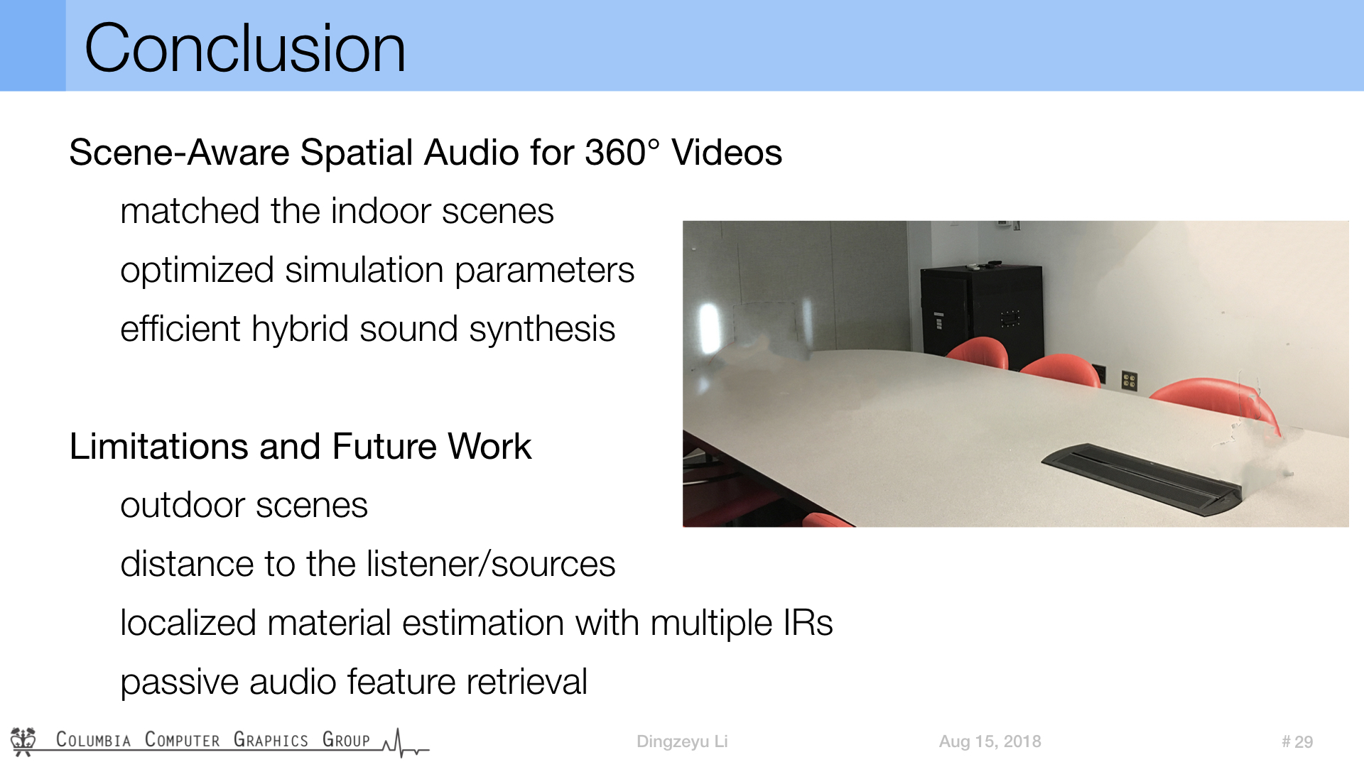 SIGGRAPH 2018: Scene-Aware Audio for 360° Videos Project Page