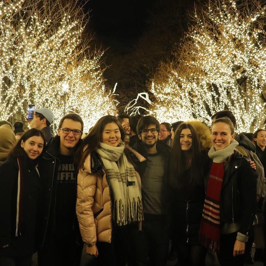 Arkadiy Saakyan with friends at the tree lighting.