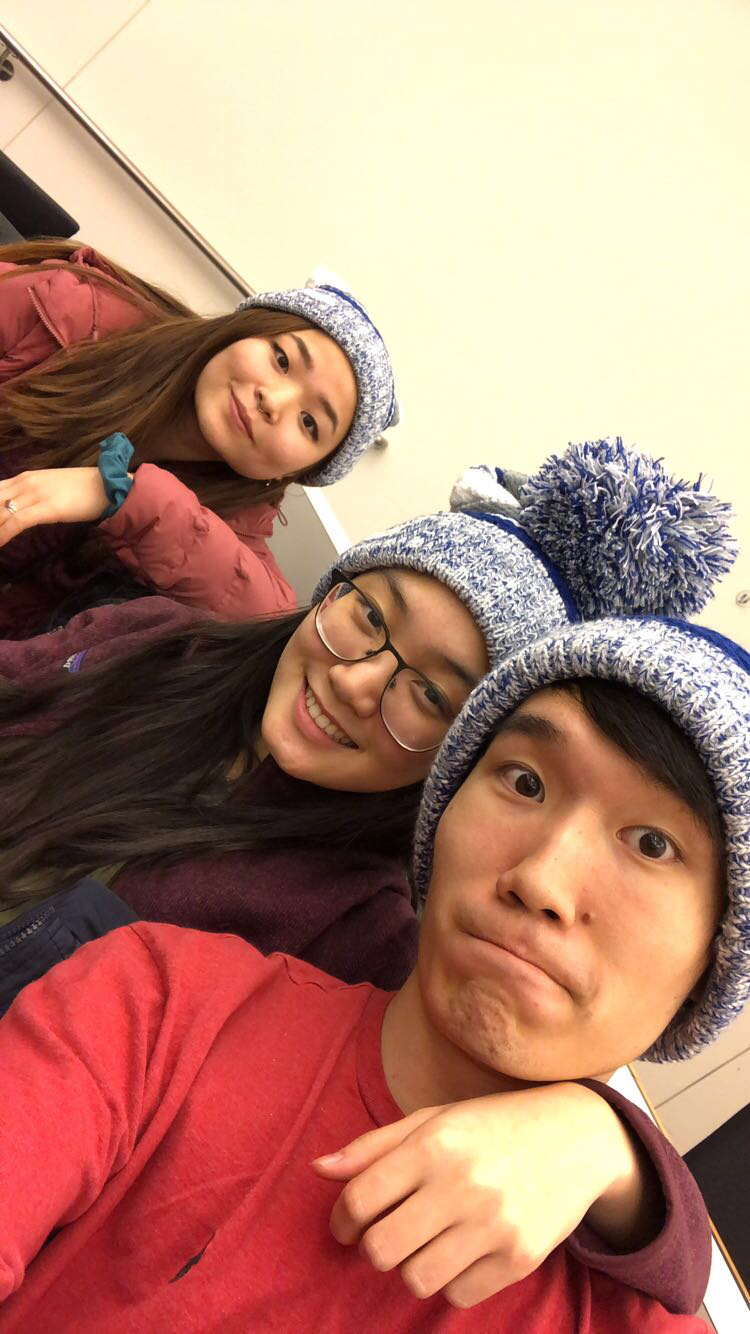 Left to Right: Kelsey Namba, Serena Tam, David Ji at the Princeton Hackathon.