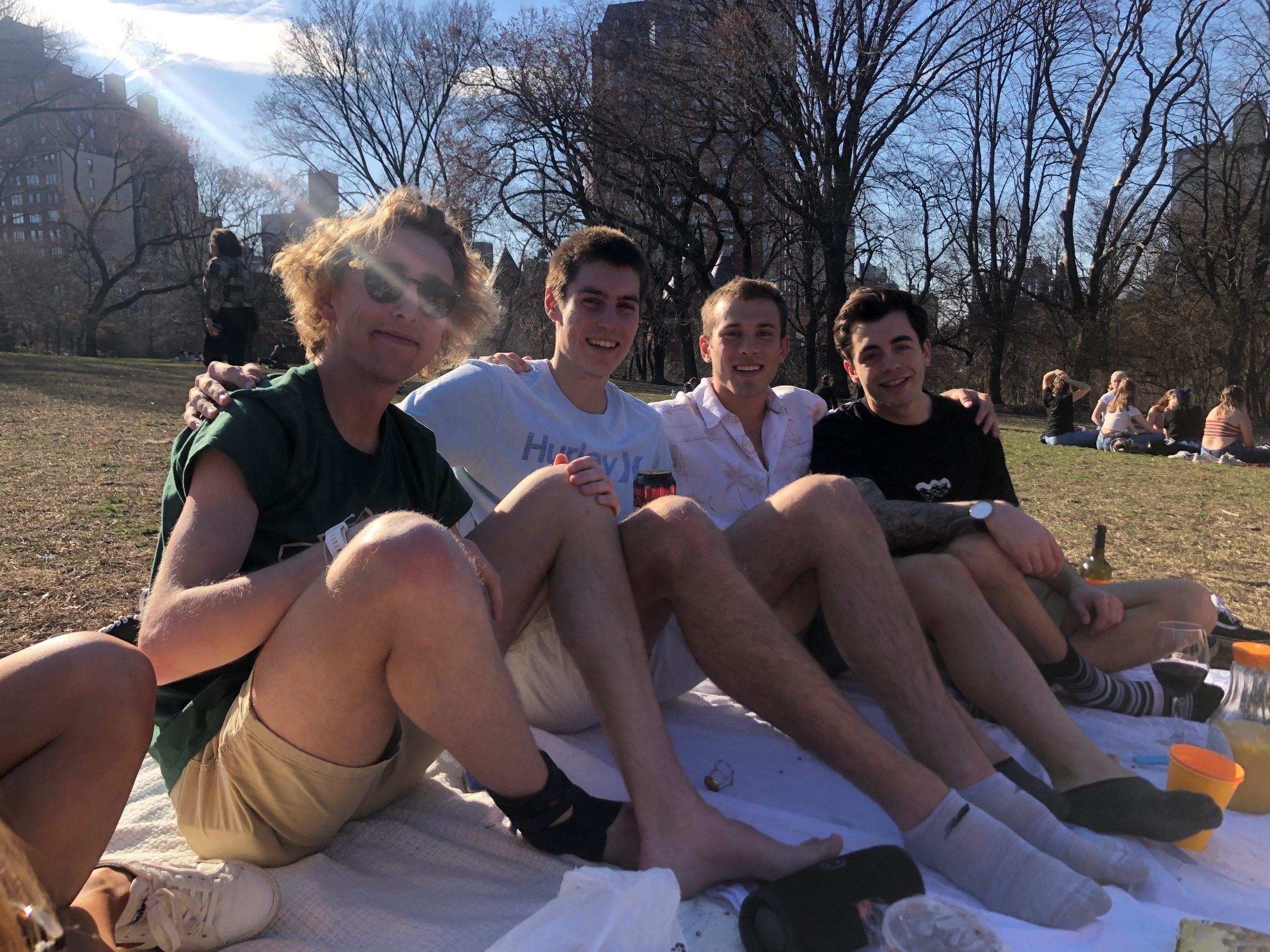 Owen Bishop, Dominic Dyer, Jackson Storey, and Jon Lauer at the park.