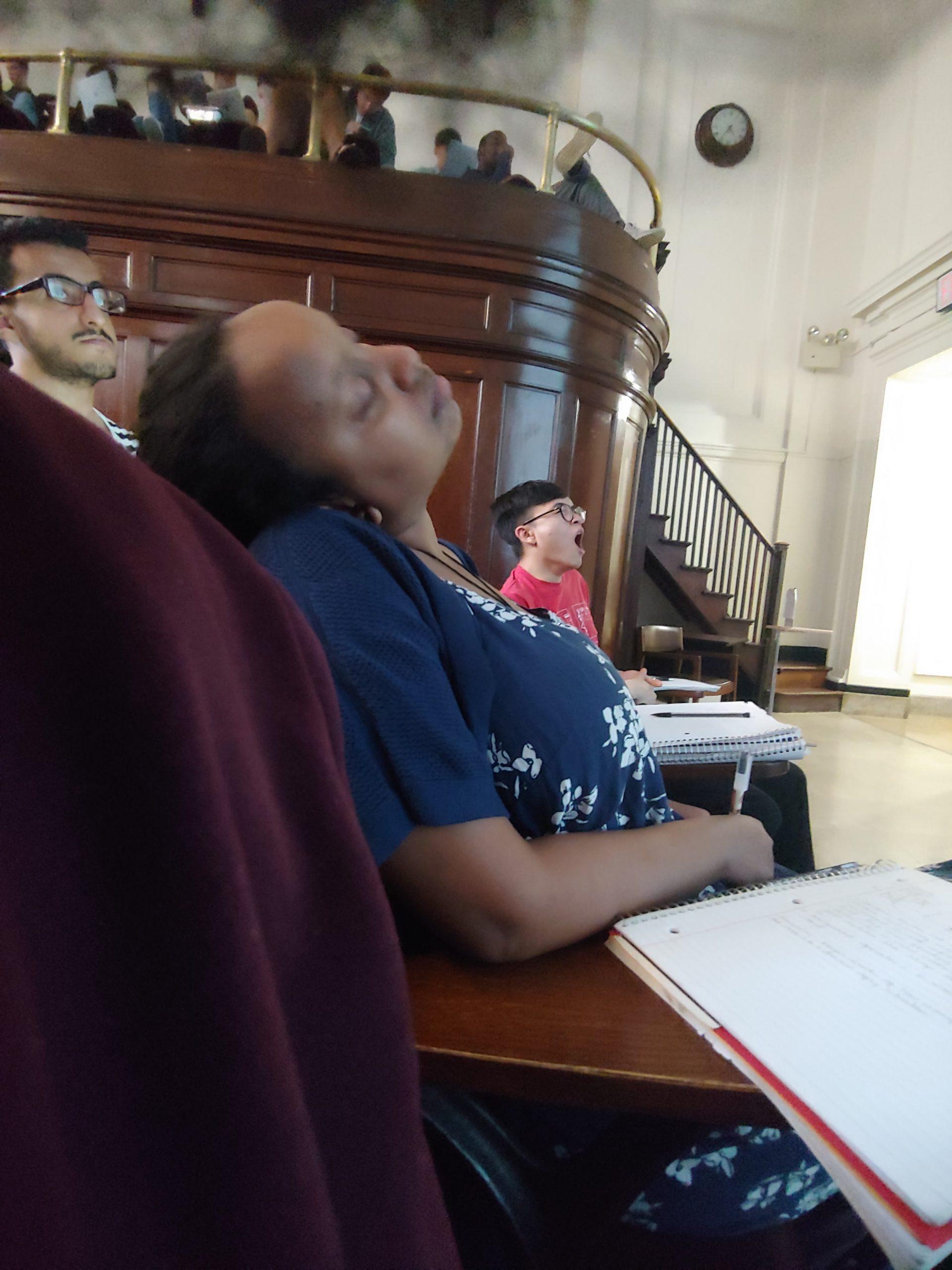 Rediet Bekele sneaking a Post Lab 7 nap in AP class (Sorry, Jae :( )