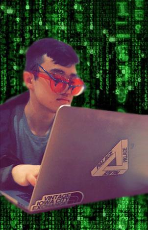 Harrison Qu in matrix code.